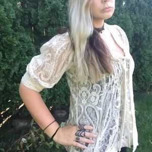 Anthropologie Paisley Lace Front Tie Blouse Small